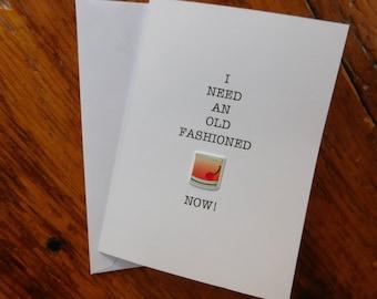 Drink card - Old Fashioned  Drink Card - Old Fashioned Drink Greeting Card - Old Fashioned Drink - Any Occasion Card - Drinking Card