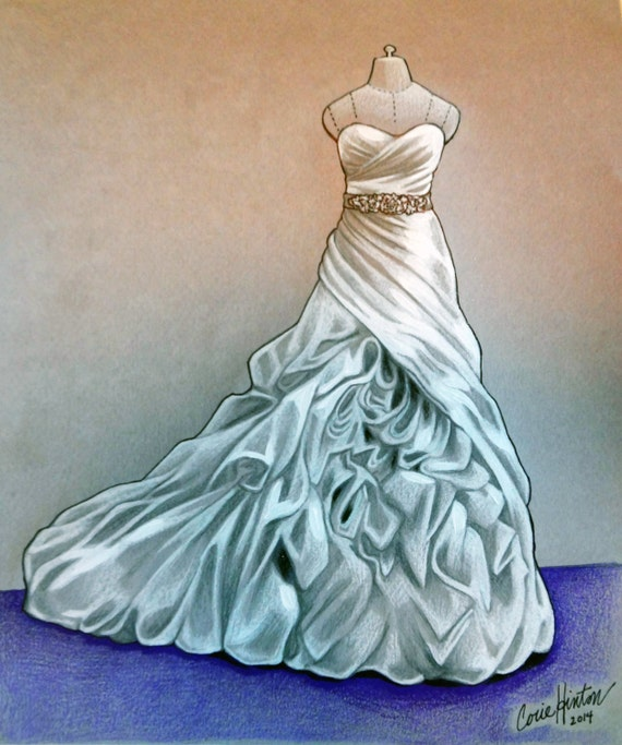 Items similar to Custom Wedding Dress Illustration - Bridal Shower ...