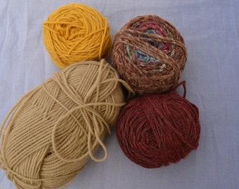 Various, Lot, mixed yarns, Color: yellow, brown, maroon, Total 11 oz, acrylic, item# 0429B