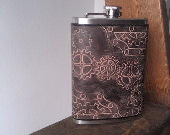 Leather Flask - Steampunk Flask Leather Flask - Gears and Nuts and Bolts, oh my