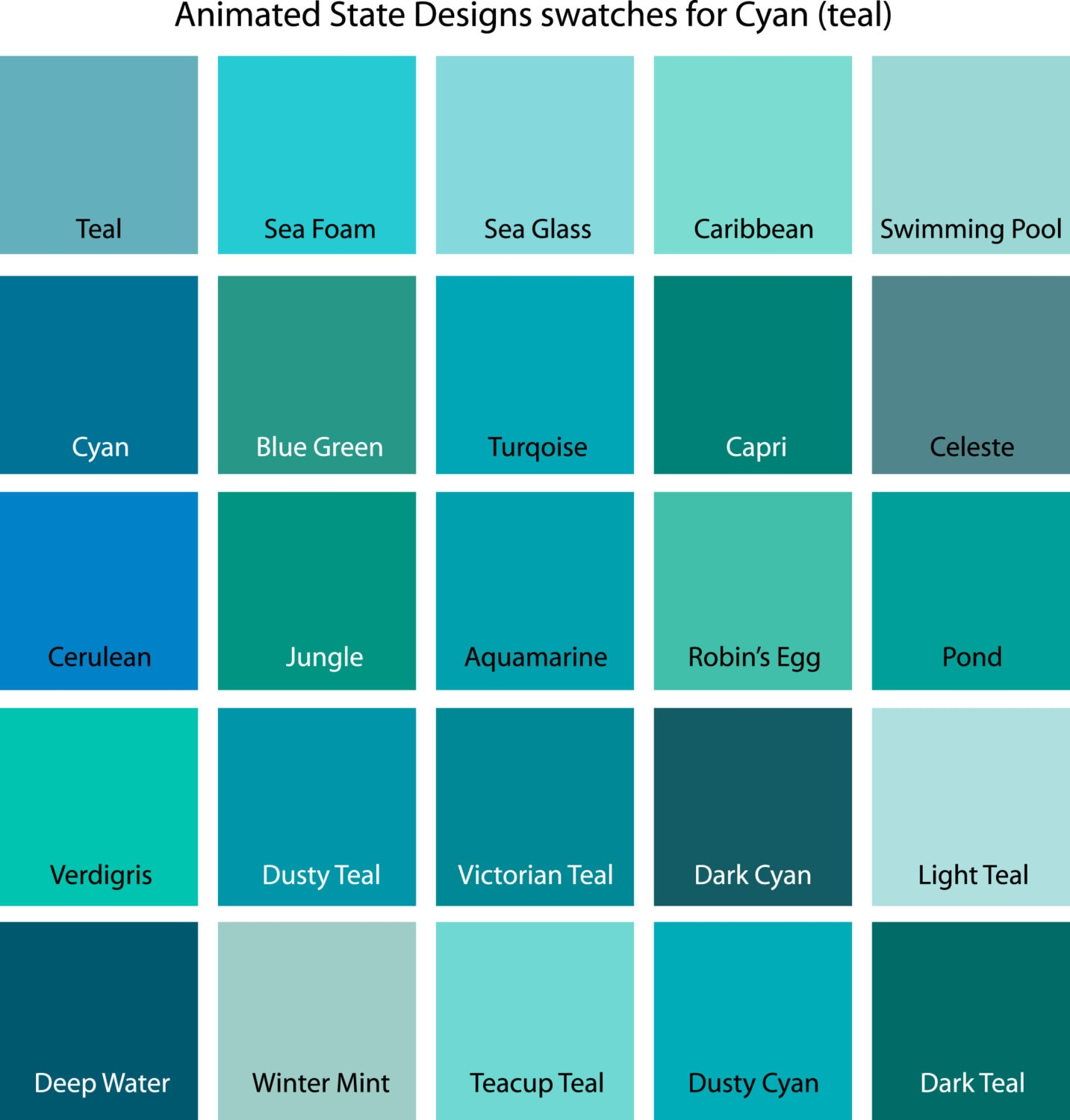 Color Swatches For Cyan Yellow Green And