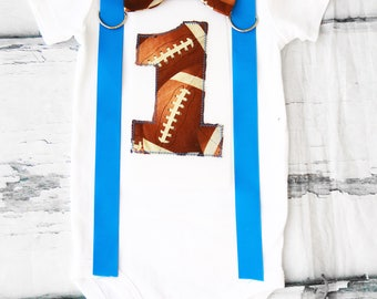 Baby boy Football Themed first birthday onesie, boy first birthday one NFL Football  first birthday Blue suspenders Football bow tie set
