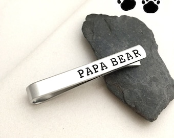 Papa Bear Tie bar / Mama Bear Necklace / Personalized Bar Necklace / silver bar necklace / Gifts for Her / Gifts for Mom / Gifts for Dad