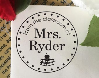 From The Classroom Of Stamp, Teacher Stamp, Book Stamp, Self Inking Stamp, Rubber Stamp, Custom Teacher Name Stamp Gift, Classroom Stamp