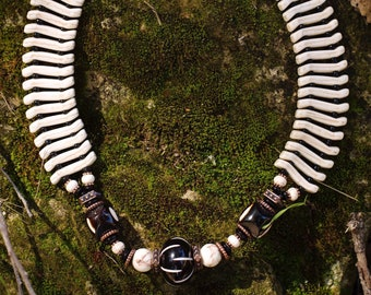 African Bone and Stone Bib Necklace