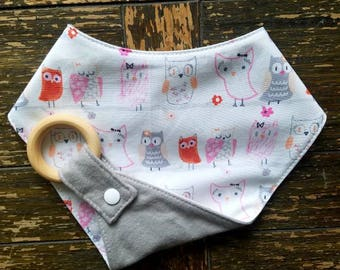 OWLS Waterproof Reversible Interchangeable Teething Bib