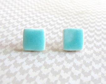 Small Aqua Earrings. Square. Studs. Aqua Blue. Turquoise. Porcelain. Ceramic. Clay. Blue Green. Ocean Blue. Surgical Steel. Mini Earrings