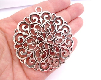 Large Silver Tone Charm Pendant_ANT_001250770_Filigree Large SILVER Charm_of 61 mm_2/6 in_ pack 1 pcs