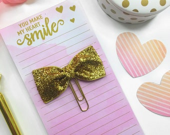 Gold Glitter Paperclip / Planner Paper Clip / Gold Bow Planner Clip