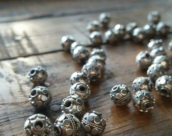 SOLD OUT!!!!     5 Intricate hand made antique silver Bali beads 8mm. 925 sterling  silver #1905