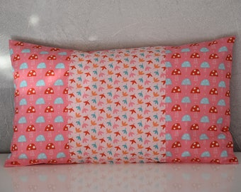 Pillow cover nursery decor girl - 50 x 30 cm - Patchwork fabric - colorful tones