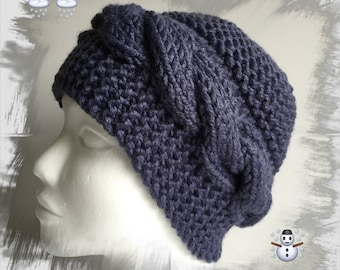 Women or teens hat with twisted, thick warm and cozy soft winter wool, blue jean