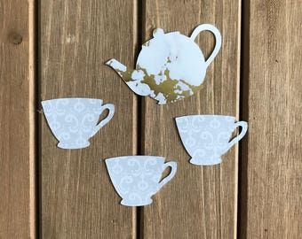 12 pcs Tea Party Teapot Teacup - Faux Porcelain/Marble Textured Cardstock Die Cuts/Party Decorations/ Embellishment/Cupcake Toppers