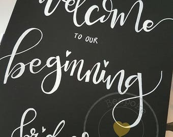 Hand lettered Chalkboard Style Wedding Sign
