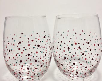 Purple, Pink, and Blue Dotted Glasses (2)