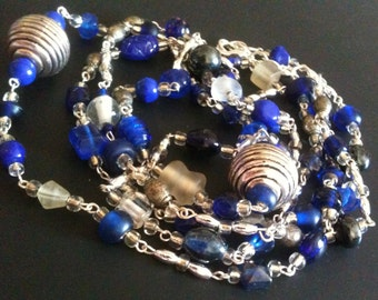 blue white & silver beaded necklace and bracelet set