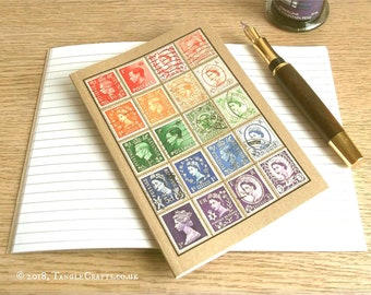 British Travel Notebook | Postage Stamp Rainbow Travel Journal | Upcycled GB Great Britain Stamp Collection, Philately Gift | Lined A6 Kraft
