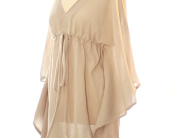 Mini Caftan Dress - Beach Cover Up Kaftan in Natural Cotton Gauze - 20 Colors