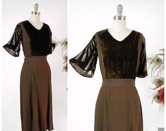 Vintage 1930s Dress - Exquisite Rayon Crepe and Silk Velvet 30s Frock Cut Velvet Devoré Sleeves and Crepe Sash