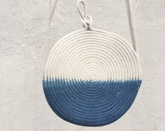 Small crossbody bag  rope purse - indigo dip