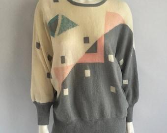 Vintage Women's 80's Sweater, Gray, Geometric, Dolman Sleeve (XL)