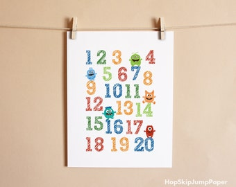Boy Nursery Decor, Monster Numbers - Art Print Poster - Choose Canvas, Framed or Unframed Poster