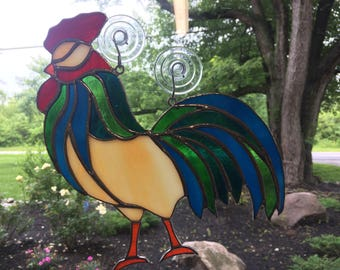 Stained Glass Rooster, Rooster Sun Catcher, Kitchen Decor, Farm, Country Decor, Country Gift, Housewarming, Hospitality, Honey Dew Glass