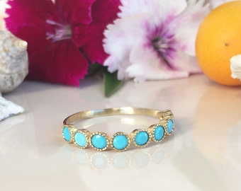 20% off-SALE!! Turquoise Ring - Sleeping Beauty Turquoise - December Birthstone - Half Eternity Ring - Turquoise Jewelry - Bezel Ring