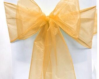 Gold Organza Chair Sash Bow Wedding Venue Decoration