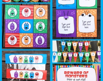 Monster Party Invitations & Decorations - full Printable Package - INSTANT DOWNLOAD with EDITABLE text - you personalize at home
