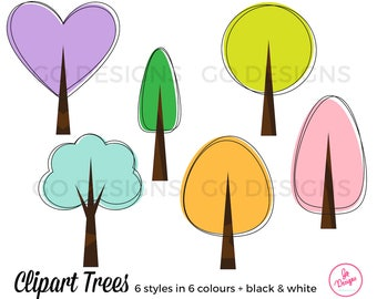 Cute Clipart Trees, Abstract Clipart Trees, Colorful Tree Graphics, Artsy Trees, Instant Download