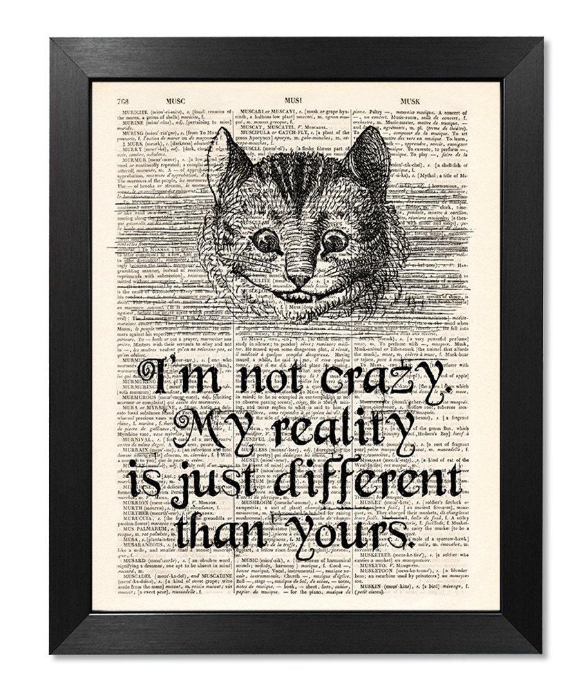 Alice In Wonderland Caterpillar Quotes: Alice In Wonderland Cheshire Cat Quote Print Dictionary Art