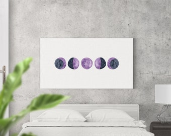 Moon Phases Watercolor CANVAS Art / Above Bed Artwork / Bohemian Bedroom Art / Moon Phases / Home Decor / Large Sizes