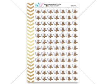 Pillow / Teddy bear Stickers for planner, calendar! Functional planner stickers bedtime sticker functional sticker #SQ00216