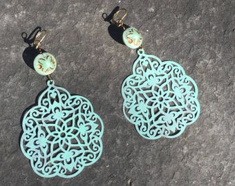 Mint  Patina India Style Filigree and Czech glass Dangle Earrings  Shabby Chic Patina Earrings Boho Jewelry Lightweight Statement Earrings