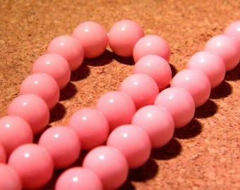 "10 pearls glass light - 8 mm - way ""jade"" - pink - PE259"