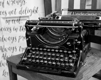 digital download, vintage, typewrite, black and white photography, ready to write a book???