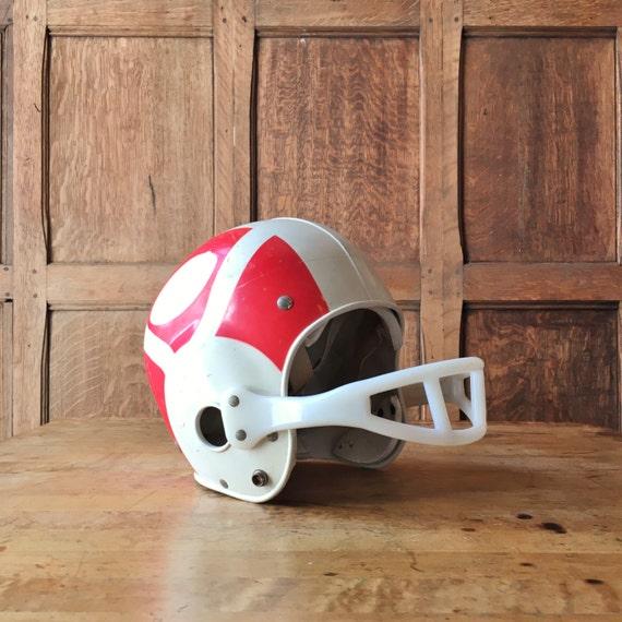Vintage Youth Football Helmet, Vintage Franklin Football Helmet, Off White And Red Kids Football Helmet