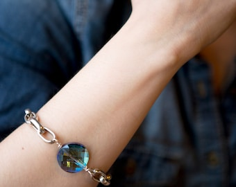 Chunky Silver Chain Bracelet with an extra large Round Coin Blue Crystal and a Toggle Clasp