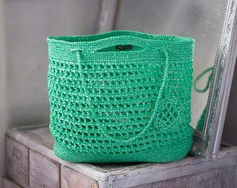 Spring Fashion Green Bag St Patricks Day Large Eco Upcycled Bag Crochet Handbag Big Lightweight Grass Tote Summer Spring Beach Plarn Bag