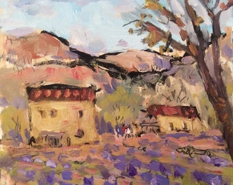 Provence France Painting featuring farmhouse villas and lavender fields by artist Russ Potak