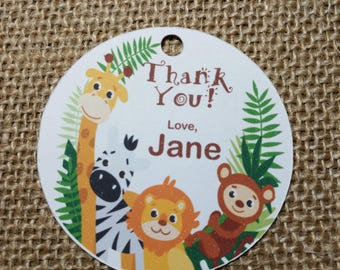 15x Jungle Themed Thank You Tags, Safari Birthday Favour Tags, Zoo Aninals Gift Tags, Party Favour Tags