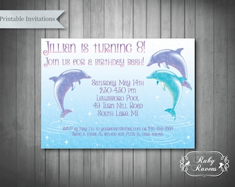 Dolphin invitation etsy pool party bash dolphin birthday invitation pool party invitation swim party invitation filmwisefo Gallery