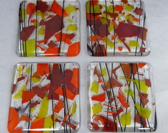 Fused Glass Coasters with Bright Red, Orange and Yellow - Sunshine Fiery Colours - set of 4