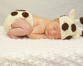 Newborn Baby Giiraffe Hat and Diaper Cover - Ready to Ship