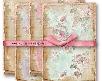 Shabby Roses Backgrounds - Digital Collage Sheet Download -844- Digital Paper - Instant Download Printables