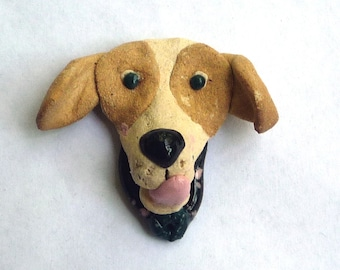 Cute Tan and White Beagle  Dog with a black nose  Pin