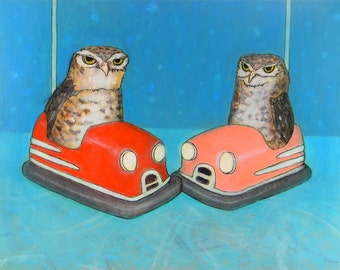 Burrowing Owls in Bumper Cars ORIGINAL mixed media bird painting
