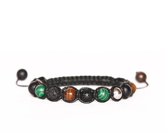 Matte Black Onyx Bracelet, Malachite Bracelet, Tiger Eye Bracelet, Lava Bracelet, Gemstones Bracelet, Men Mala, Unisex Bracelet