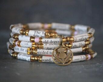 Outlander - Diana Gabaldon - bracelet - bookish gift, scottish thistle - bronze charm - book page - France - upcycled